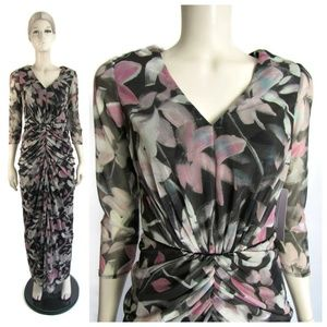 JS Collections 3/4 Sleeve Print Mesh Gown 2 NWT